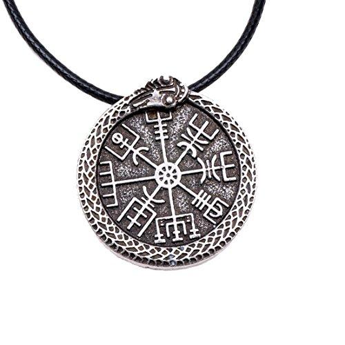 (Paw Paw House Vegvisir Compass Amulet Necklace Norse Viking Odin's Symbol Runic Pendant Thor's Hammer Mjolnir Gift Men Women (4166 Ouroboros Vegvisir S))