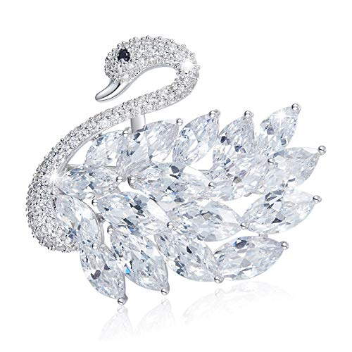 (Swan Brooch Pins for Women, White Swan Pins Crystal Brooch for Party, Gifts for Valentine's Day)