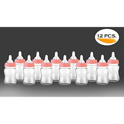 Noa Store 12 Fillable Bottles for Baby Shower Favors Party Decorations Girl & Boy (Pink): Toys & Games