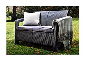 Mimbre Patio Loveseat, al aire libre cojines, color gris