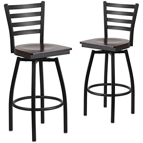 Flash Furniture 2 Pk. HERCULES Series Black Ladder Back Swivel Metal Barstool - Walnut Wood Seat