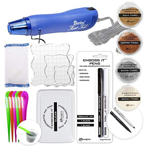 Embossing Kit with Heat Tool Bundle, Embossing Powder, Emboss-it Pens, Embossing Ink Pad, Embossing Magic Pad, 3X Acrylic Stamp Blocks, Craft Scoops