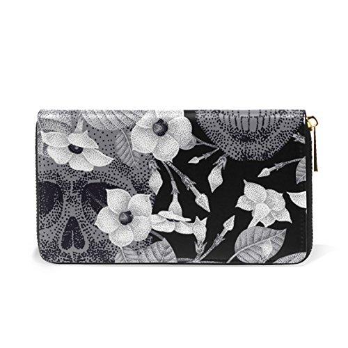 Skulls TIZORAX Womens Around And Zip Flowers Organizer Handbags And Wallet Purses Clutch EwqOU7wf