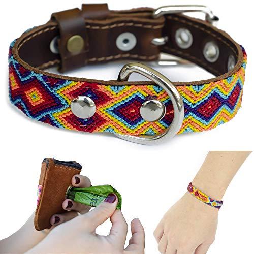 PAWMADE Handmade Dog Collar and Dog Poop Bag Dispenser KIT Durable