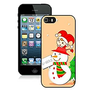 Custom-ized Phone CaseIphone 5S Protective Cover Case Christmas Snowman iPhone 5 5S TPU Case 7 Black