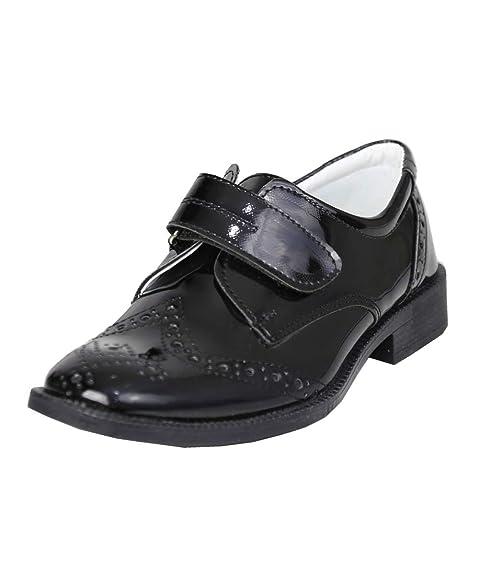 Flamingo Zapatos de Comunión Formal con Cierre de Velcro Para la Boda de Comunión para Niños en Negro Talla EU 36: Amazon.es: Zapatos y complementos