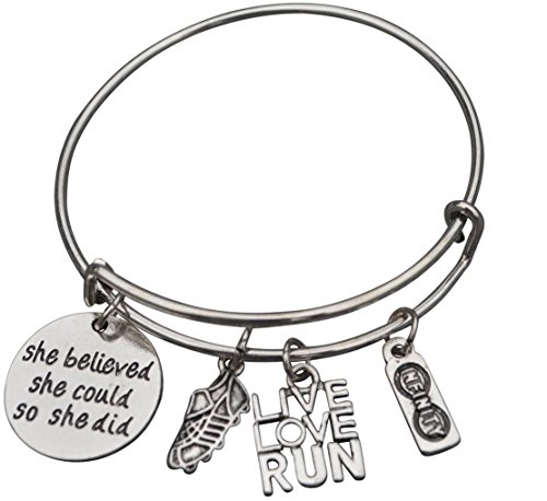 Running Gifts- Runner Bracelet, Running Jewelry, Adjustable Running Charm Bracelet- Perfect Cross Country, Track, Marathon - Womens Gifts Running
