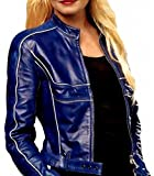 Once Upon a Time Emma Swan Red Leather Jacket ►Best SELLER◄ (L, Blue)