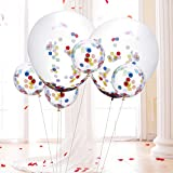 6 Pcs 36 Inches Confetti Balloons + 12 Pcs 12 Inches Clear Confetti Balloons ...