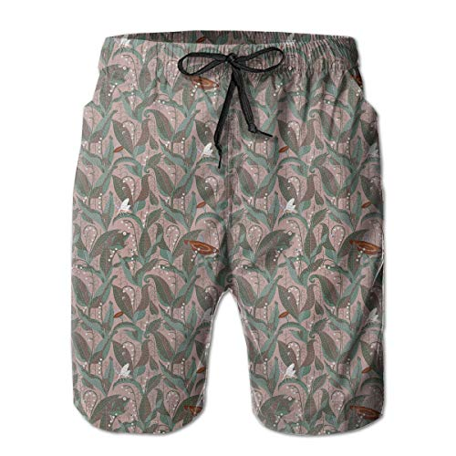 Beach Shorts for Man Fit Quick Dry Lily of The Valley Dress Prints Pants Pockets Swim Trunks White