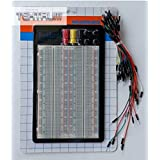 TEKTRUM EXTERNALLY POWERED SOLDERLESS 1660 TIE-POINTS EXPERIMENT PLUG-IN BREADBOARD WITH ALUMINUM BACK PLATE AND JUMPER WIRES FOR PROTO-TYPING CIRCUIT/ARDUINO