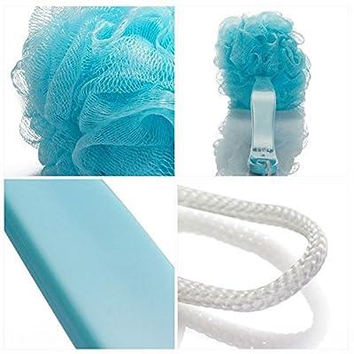 "2 Pcs Body Back Scrubber,Shower Wash Brush Set for Men & Women,Long Handle Bath Cleansing Brush,Exfoliating Mesh Brush,Bathroom Accessories,17""x4.7"""