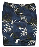 Men's Cargo Shorts - Bamboo Island Elastic Waistband Inside Drawcord Flap Pocket Cotton Shorts in Navy Blue - S