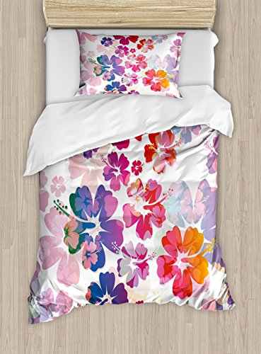 Hawaiian Duvet Cover Set by Ambesonne, Exotic Floral Print Island Theme Tropical Hawaii Flowers Pattern Art Print, 2 Piece Bedding Set with Pillow Sham, Twin / Twin XL, Purple Red - Print Bedding Hawaiian