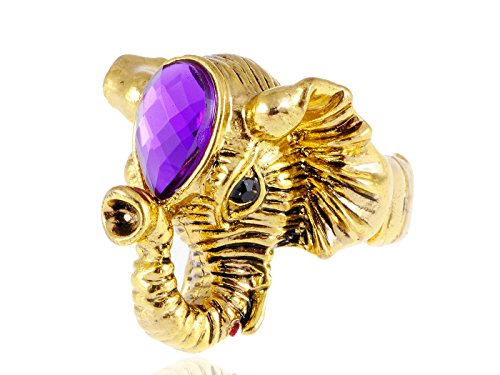 Alilang Adjustable Stretchy Yellow Golden Tone Purple Gemstone Asian Indian Elephant Ring - Elephant Yellow Ring