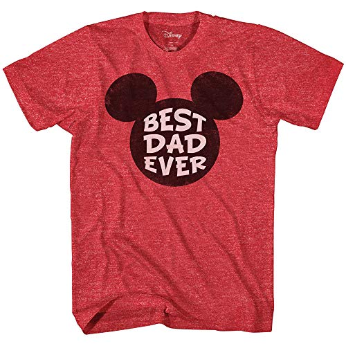 Disney Mickey Mouse World's Best Dad Ever Disneyland Graphic Adult T-Shirt(Heather Red,Large)]()