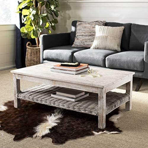 Safavieh Home Collection Minerva White Wash Rattan Coffee Table