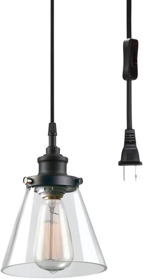 Globe Electric 65580 Jackson 1-Light Plug-in Pendant, Matte Black, Clear Glass Shade