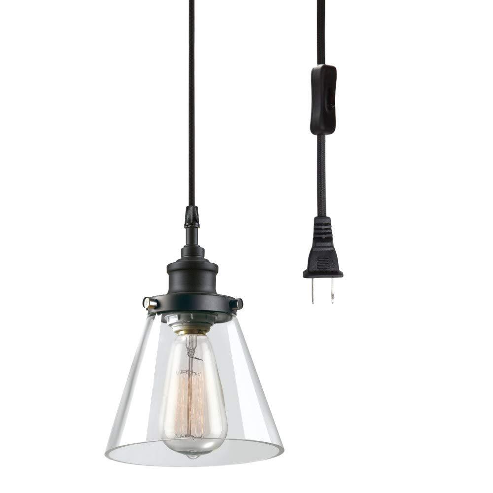 Globe Electric 65580 Skylar 1-Light Plug-in Pendant, Clear Glass Shade, Matte Black Finish