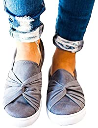 Women's Loafers Slip on Flatform Top Ruched Knot Fashion...