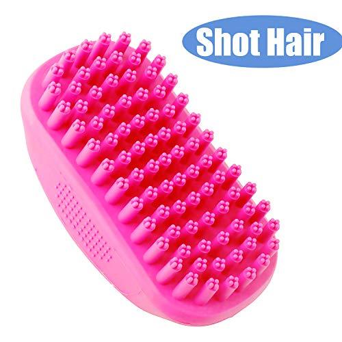 LUKACY DogBathBrush,Rubber Brush Dog Washing Anti-Skid Soft for Cats Shampoo Shower Massage with Short Hair Labrador (Rose red)(Rose red) ()