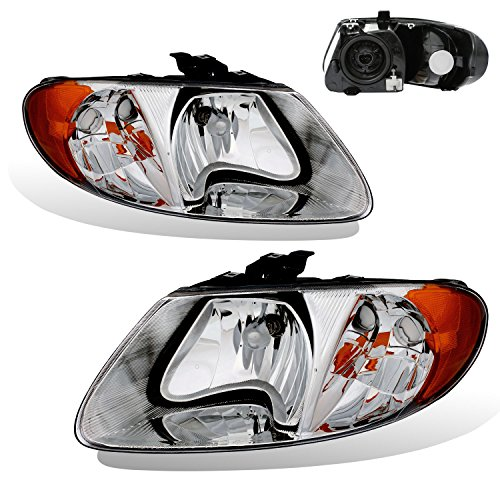 SPPC Chrome Headlights For Chrysler/Dodge/Plymouth Town and Country/Caravan/Grand Caravan/Voyager (Pair) High/Low Beam Bulb Included Plymouth Voyager Body Parts