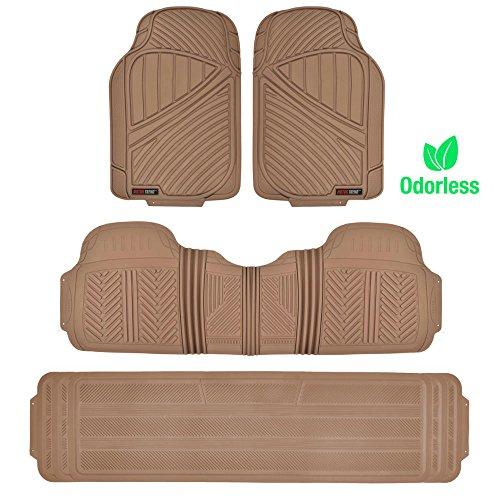 Motor Trend MT-773-801-GR FlexTough, Durable and Flexible Rubber Car SUV Van Floor Mats 3 Rows, Odorless Eco Clean Liners, Extra-High Ridgeline Design ()