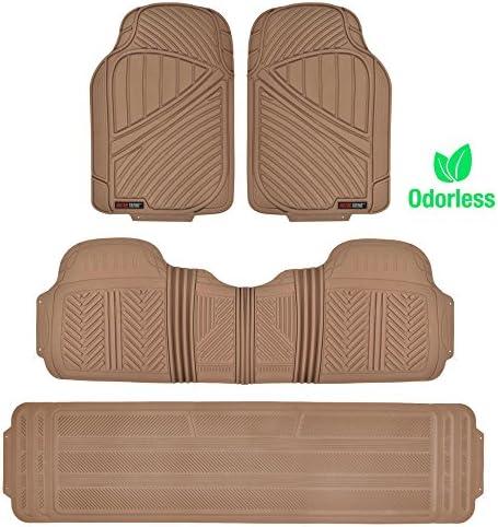 Motor Trend 3 Row Odorless Rubber Floor Mats & Liners for Car SUV Van, Durable Heavy Duty Polymerized Latex Full Interior Protection, Extra-High Ridgeline Design, Beige (MT-773-801-BG)
