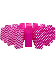 Hallmark Pink Party Favor and Wrapped Treat Bags, Assorted Designs (30 Ct, 10 Each of Chevron, White Dots, Solid) for Valentines Day, Baby Showers, Bridal Showers, Birthdays, Care Packages, May Day