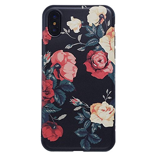 iPhone X Cute Case for Girls, YeLoveHaw Flexible Soft Slim Fit Full Protective Shell Phone Case with Vintage Rose Floral Pattern for iPhone X 5.8 Inch (Rose)