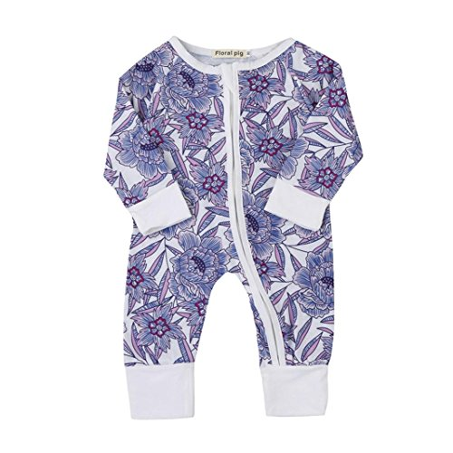 Newborn Infant Baby Girls Boys Long Sleeve Flower Printing Zip Front Romper Bodysuit Outfits Unisex Fall Winter Clothes (0-6Months, Blue)