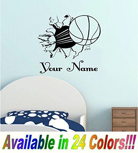 Basketball Bursting Through Wall with Personalized Name Vinyl Wall Decal (Victorian Basketball)