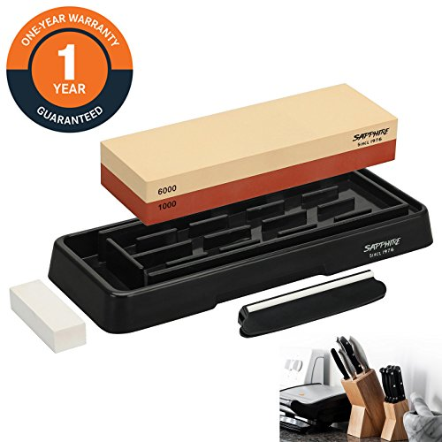 MDBT Premium Knife Sharpening Stone Set 1000/6000 Grit Whetstone Kit with Non-Slip ABS Base | Flattening Stone | Angle Guide