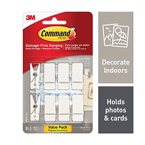 Command Quartz Spring Clips, 8 hooks, 12 strips, Indoor Use (17089Q-8ES)