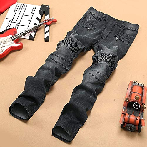 Uomo Battercake Jeans Elastic M Denim Black Da Foro Straight Colour Comodo Con Pants Stretch Locomotiva EEpHrqxw