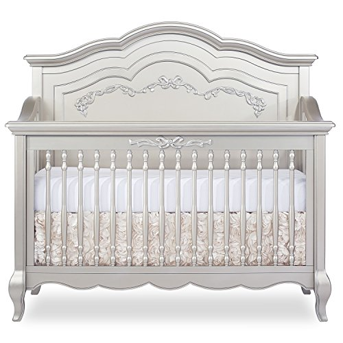 Evolur Aurora 5 in 1 Convertible Crib, Metallic Gold Dust (Set Hutch Rectangular)