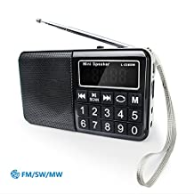 PRUNUS Portable SW / FM / MW MP3 radio with neodymium speaker. Large button and large display. Stores stations automatically. Supports the following: Flash drive / Micro SD card / TF card (8GB, 16GB, 32GB, 64GB) to allow the user to play stored MP3 files.