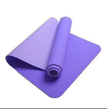 Púrpura GTVERNH esterilla de yoga principiantes gruesa ...