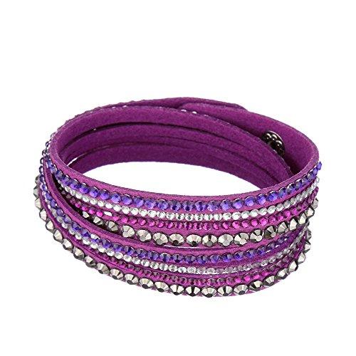 Beautiful Bead Women New Fashion Genuine Leather Wrap Multilayer Rhinestones Hot Fix Bracelet-Purple ()