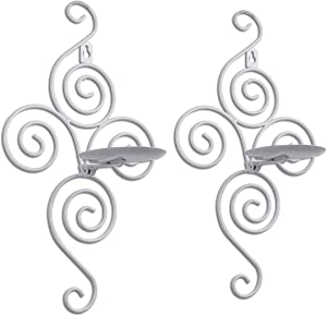 Pasutewel Wall Candle Sconces,Set of 2 Elegant Swirling Iron Hanging Wall Mounted Decorative Candle Holder 14x7 Inch for Home Decorations,Weddings,Events
