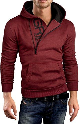 Grin&Bear Slim Fit Half Zip Hoodie Jacket Embroidered Sweatshirt, Wine, XL, GEC401