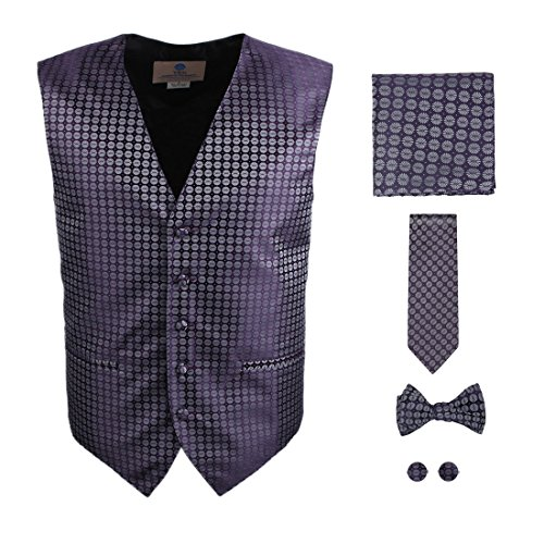 Mens Dress Vest Purple Paisleys Formal Vest/waistcoat for Wedding Gift Set Match Necktie for Men, Cufflinks, Handkerchief, Patterned Bow Tie for Suit Y&G VS1018-L Large - Waistcoat Patterned