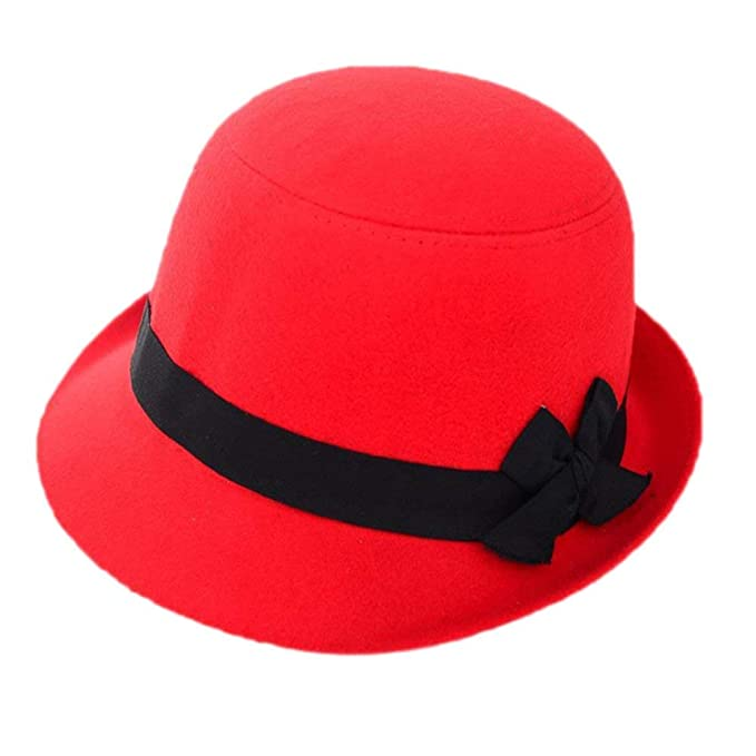 Gorros Señoras Hombres Sombrero De Fieltro Hipster Retro Bowknot Sombrero  Fácil De Igualar Plano Derby Bowler Sombreros Al Aire Libre Gorras (Color    A 455e9b9a439