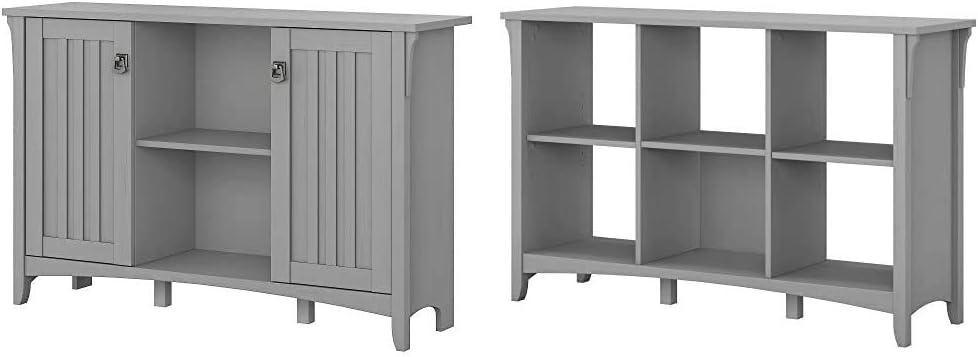 Bush Furniture Accent Storage Cabinet with Doors, Cape Cod Gray & Salinas 6 Cube Organizer, Cape Cod Gray