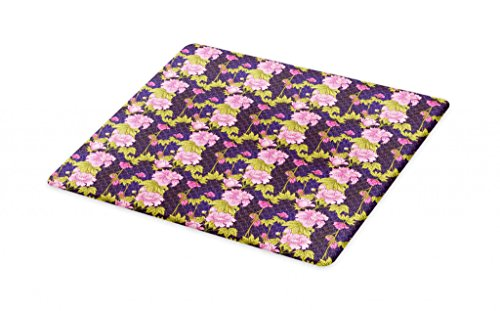 Lunarable Asian Cutting Board, Pattern with Pink Peony in Japanese Style on Scale Backdrop, Decorative Tempered Glass Cutting and Serving Board, Small Size, Dark Purple Pale Pink and Pale Green by Lunarable