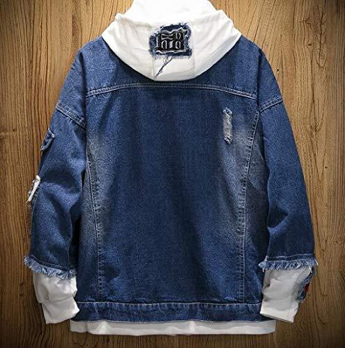 Lightweight Plus Blue Jacket Sleeve Size Button Mens Down Long Dark XINHEO Jean Leisure B4wxnzqz5