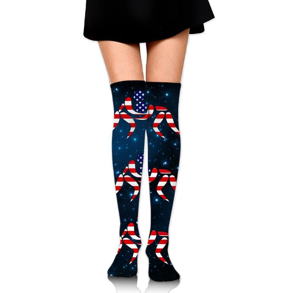 American Wrestling Proud Wrestler Unisex Over Knee High Socks Extra Long Athletic Sport Tube Socks by Blinkin