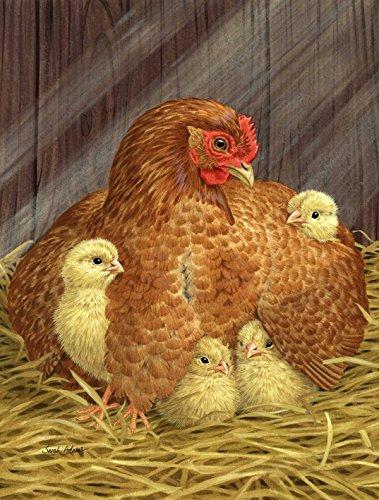 Caroline's Treasures ASA2011GF My Little Chickadees with Hen Chicken Garden Size Flag, Small, Multicolor