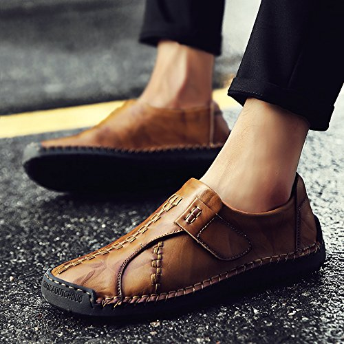 La Hechos Negocios De Zapatos Hombres Casuales Vestido A Primera Cuero Capa Del Mano 7808lightbrown Los ZdnPp8Yn