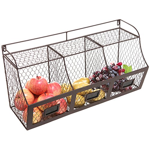 Large Rustic Brown Metal Wire Wall Mounted Hanging Fruit Basket Storage Organizer Bin w/ Chalkboards (Wire Vegetable Basket)
